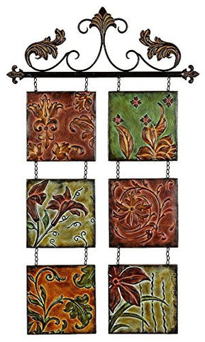 Fleur De Lis Botanical Scroll Wall Plaque