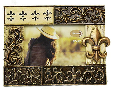 Fluer De Lis 4x6 Scrolled Bronze Finish Photo Picture Frame