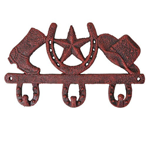 """Cowboy Hat, Horseshoe And Boots"" Red Cast Iron Wall Hooks"
