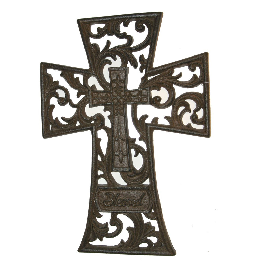 "Fleur De LIs ""BLESSED"" Cast Iron Scrolled Wall Cross"