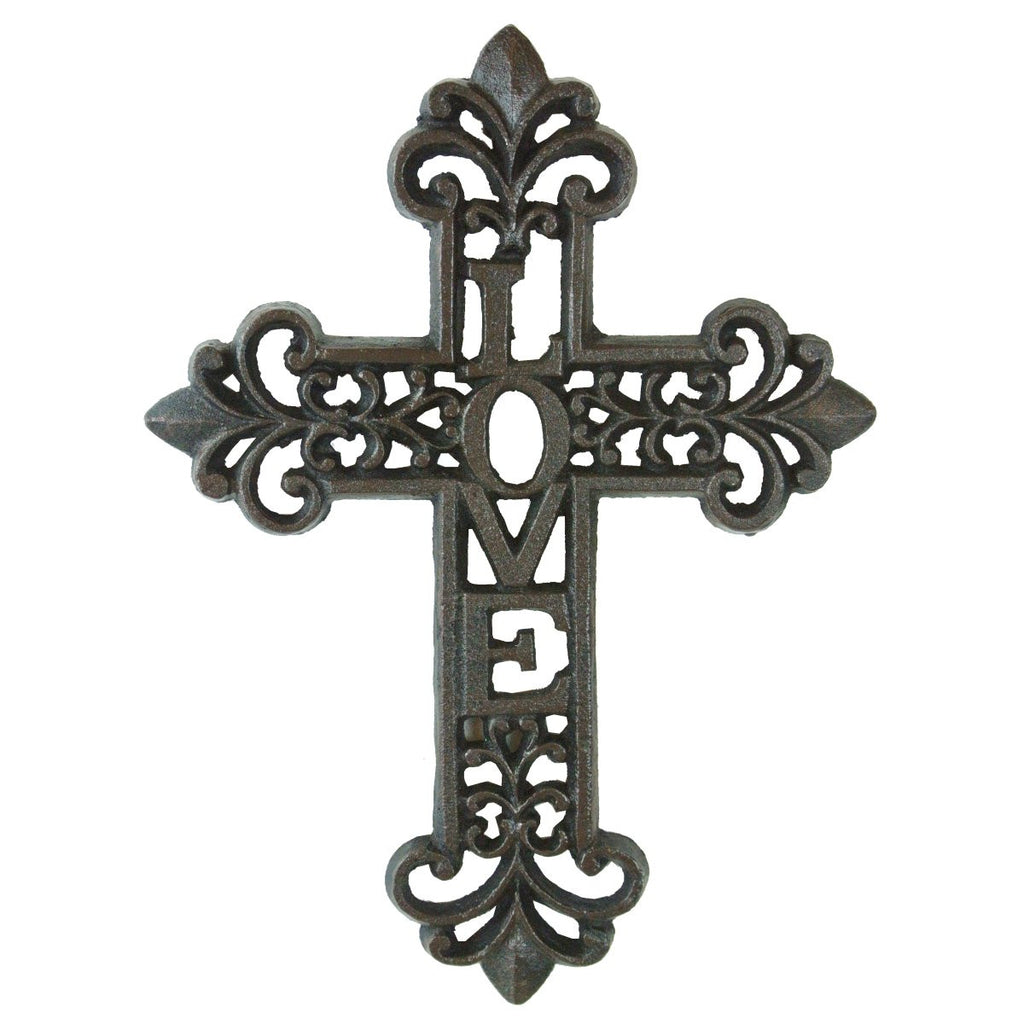 "Fleur De Lis Cast Iron ""LOVE"" Scrolled Wall Cross"