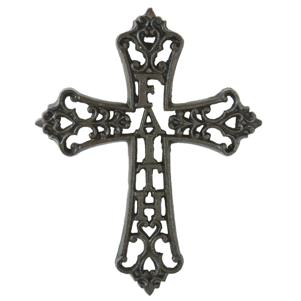 "Fleur De Lis Cast Iron ""FAITH"" Scrolled Wall Cross"