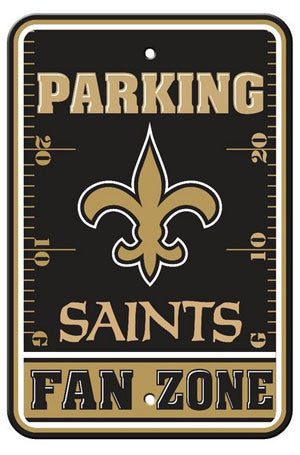 "New Orleans Saints ""Parking Fan Zone"" Plastic 12x18 Wall Sign"