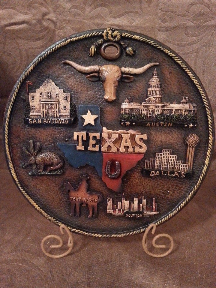 Texas Cities Decorative Plate with Stand