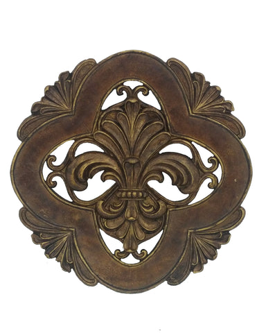 Fleur De Lis Bronze Decorative Charger with Easel