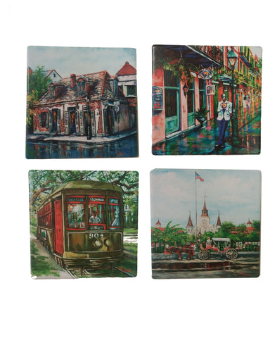 """New Orleans"" Tumbled Tile Coasters, Set of 4"
