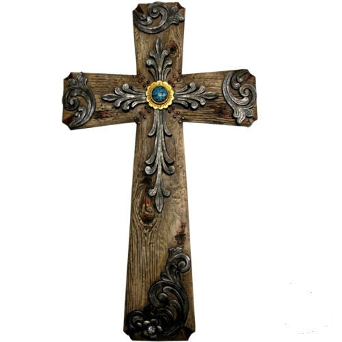 Fleur De Lis Wood Texture Double Layered Turquoise Stone Wall Cross