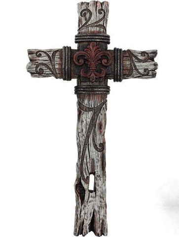 Fleur De Lis Barnwood Embossed Red/Gray Ceramic Wall Cross