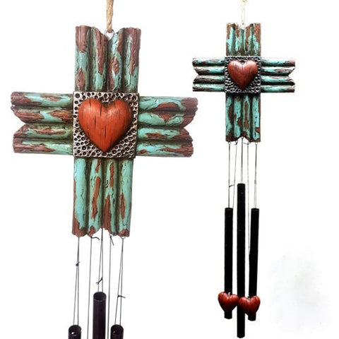 Distressed Turquoise Cross & Heart Wind Chimes