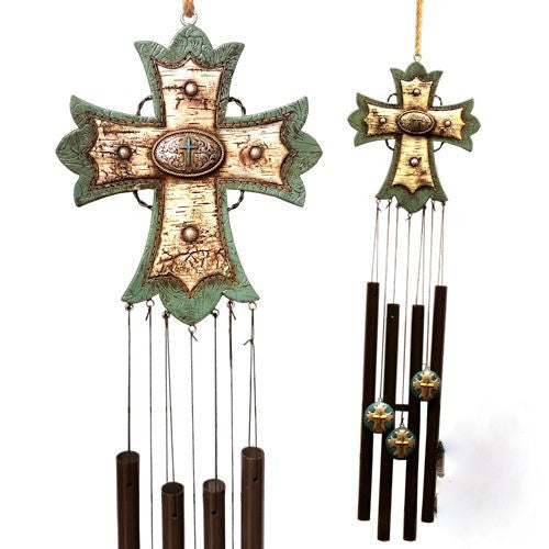 Birch Turquoise Cross Wind Chimes