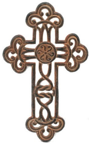 Fleur De LIs Cast Iron Antique Old World Finish Wall Cross