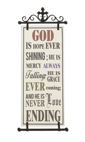 "Cross ""God Is Hope"" Wall Tapestry Hanging Plaque"