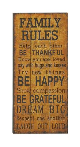 Family Rules Wood Paneled Quoted Wall Plaque