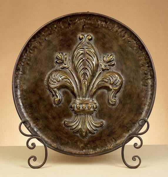 Fleur De Lis Bronze Finished Metal Charger with Easel