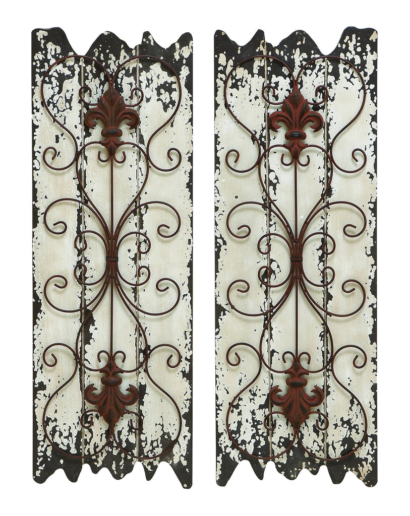 Fleur De Lis Rustic Scrolled Wall Panels Plaques - Set of 2