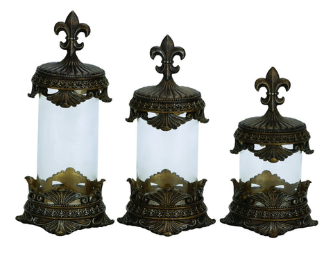 Fleur De Lis Bronze Polystone & Glass Canisters - Set of 3