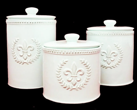 Fleur De Lis Antique White Canister Set - Set of 3