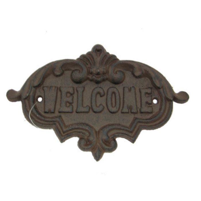 "Fleur De Lis Cast Iron Small Oval ""WELCOME"" Wall Plaque"