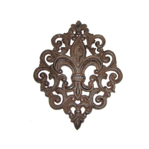 Fleur De Lis Cast Iron Diamond Shaped Scrolled Wall Plaque