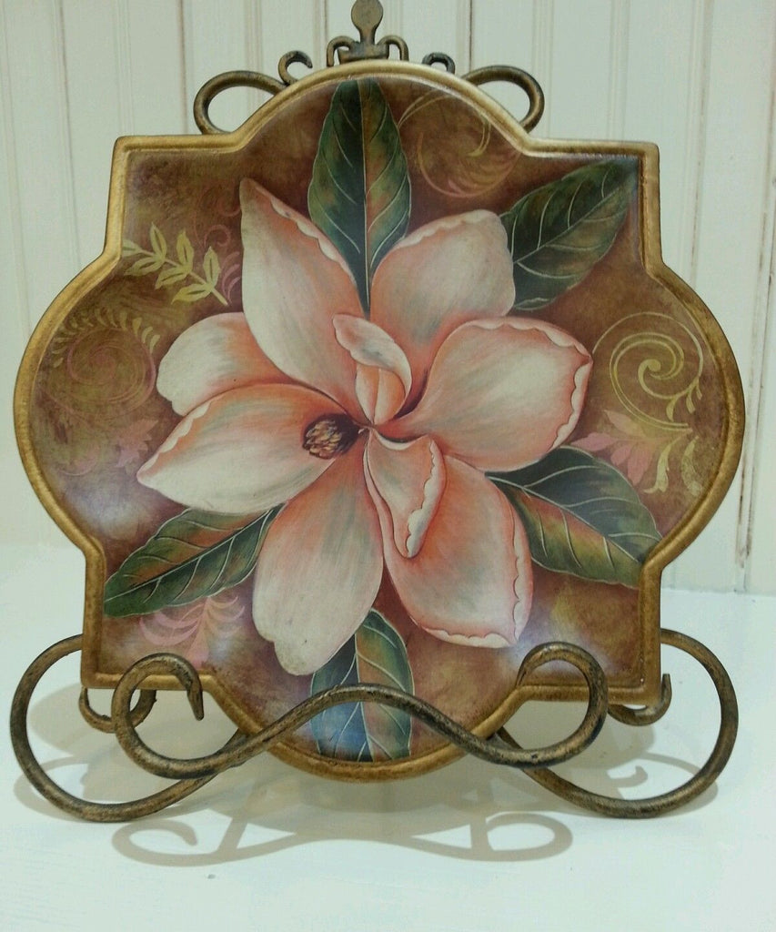 Geometric Ceramic Magnolia Print Decorative Plate, Design #3