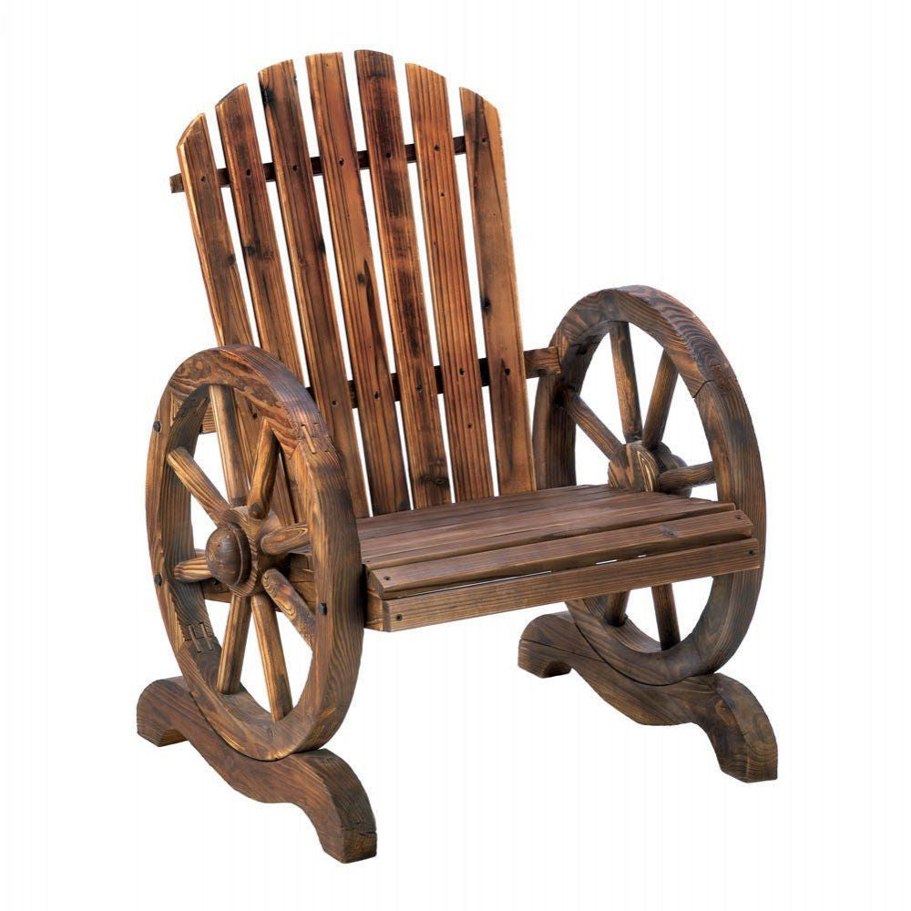 Old Country Wood Wagon Wheel Patio Chair