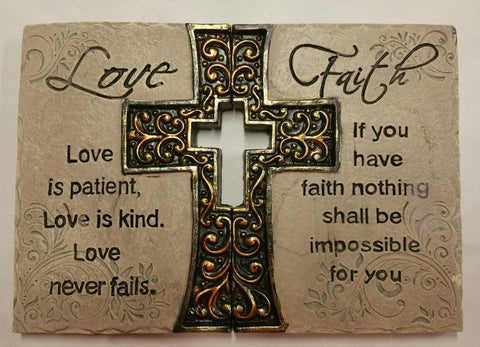 """LOVE FAITH"" Cross Ceramic Wall Plaques - Set of 2"