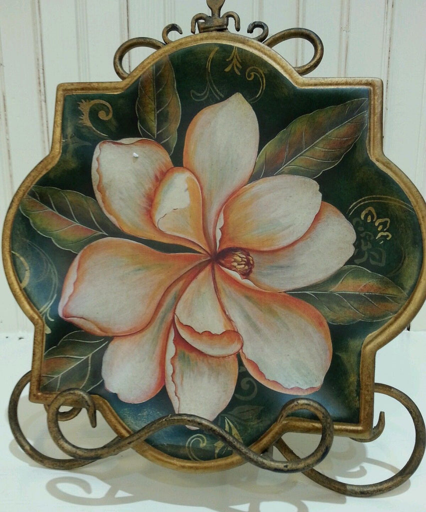 Geometric Ceramic Magnolia Print Decorative Plate, Design #1