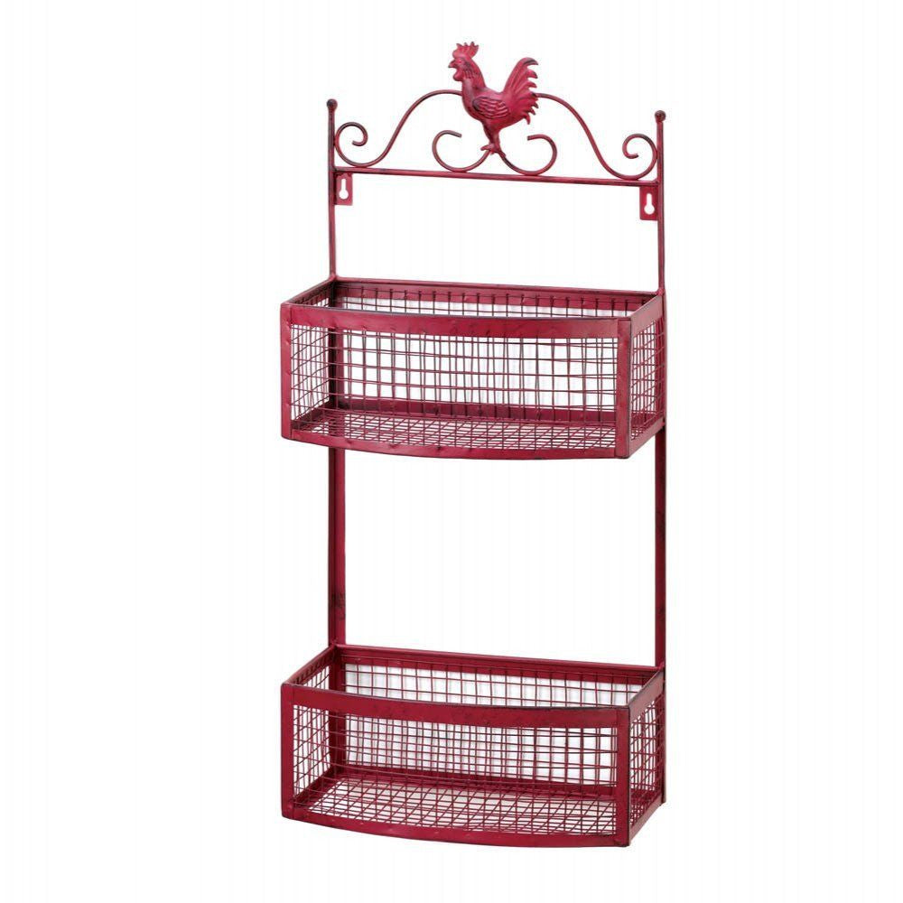 Rooster Double Stack Kitchen Wall Basket