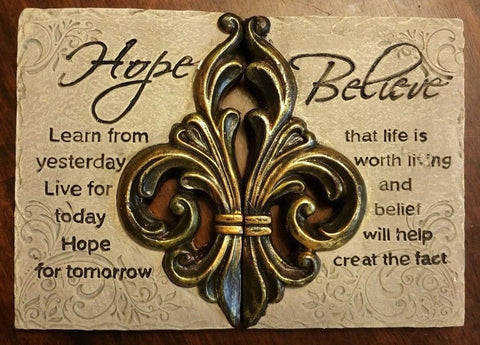 "Fleur De Lis ""Hope, Believe"" Ceramic Wall Plaques - Set of 2"