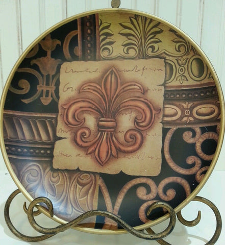 Fleur De Lis Ceramic Round Center Emblem Decorative Plate, Design 1
