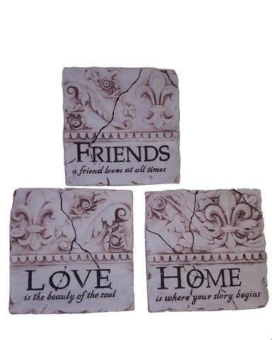 "Fleur De Lis ""Home, Love, Friends"" Ceramic Wall Plaques - Set of 3"