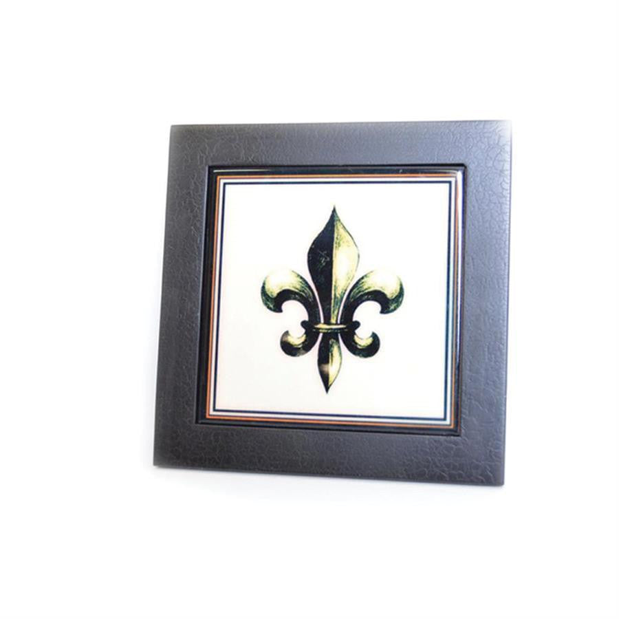 Fleur De Lis Cream/Black Ceramic Trivet or Pot Stand