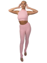 Dusty Pink Ribbed High Neck Two Piece Set