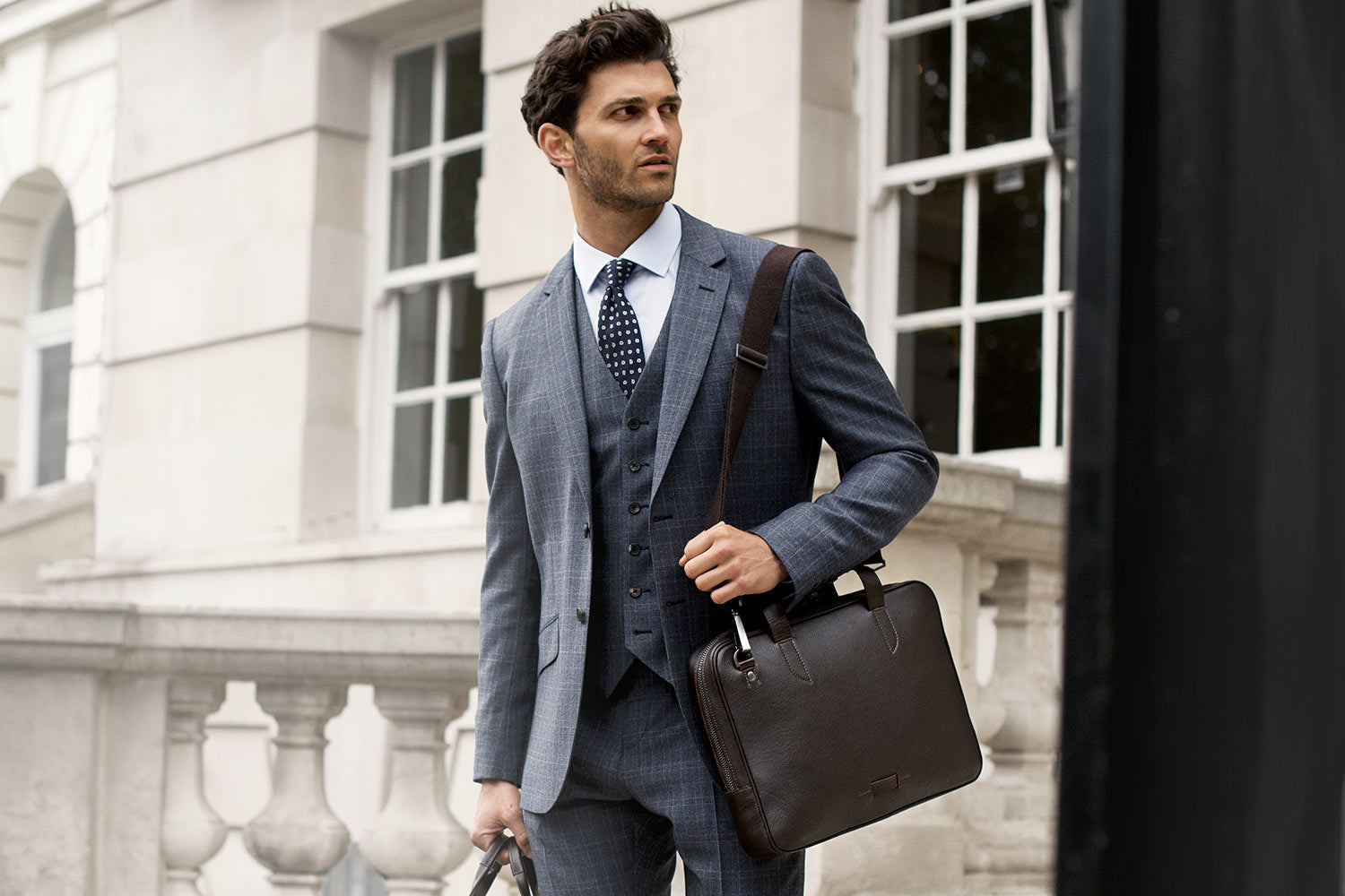 Leather Briefcase Bolton Slim