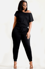 Black Off Shoulder She So Comfy Knit Casual Jumpsuit