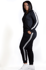 She A Go-Getter Knit Two-Piece Black Jogger Set