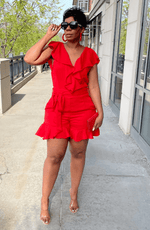 She's All That Red Ruffle Romper With Self-Tie