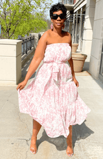 The Lily White And Pink Floral Strapless Maxi Dress