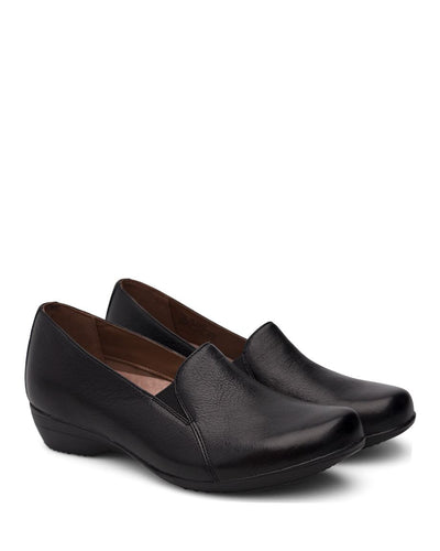 dansko women's black leather slip-on shoe