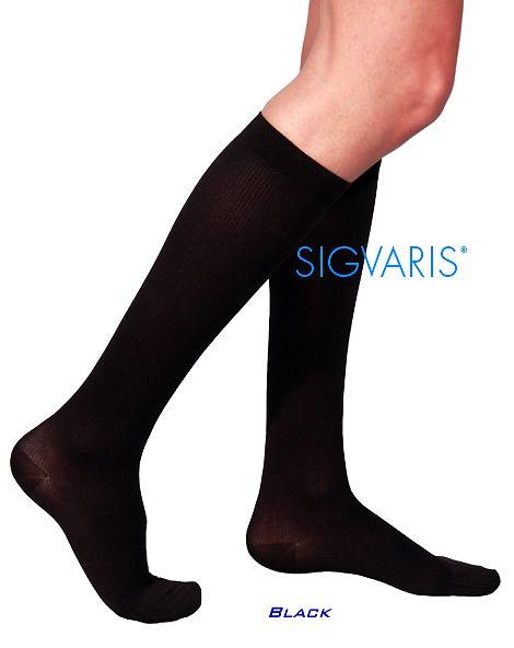 SIGVARIS Womens COTTON 230 Calf 30 40mmHg with Grip Top