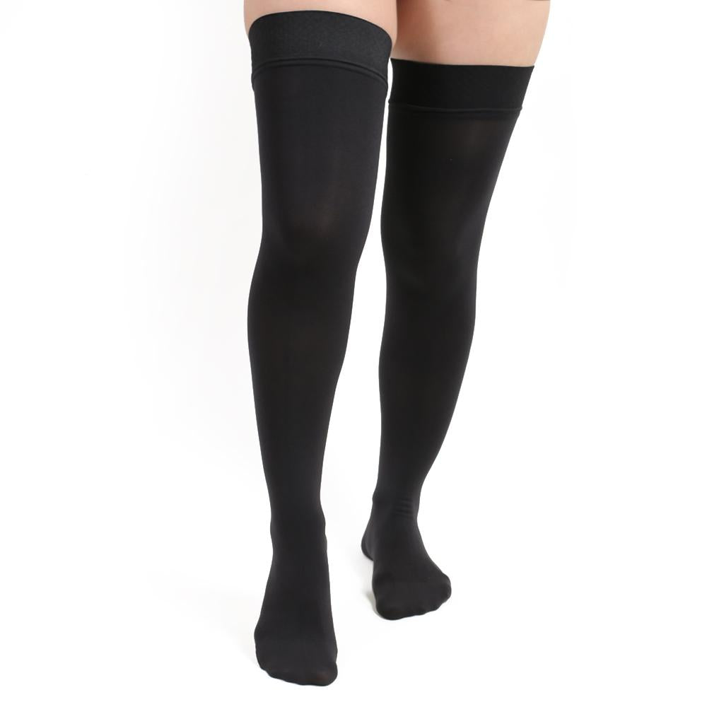 opaque thigh-high compression stockings
