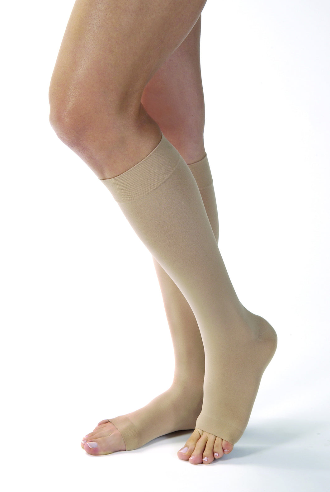 Opaque | Knee High Compression Stockings | Open Toe | 15-20 mmHg