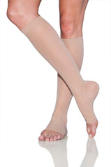 EverSheer | Calf High Compression Stockings | Open Toe | 30-40 mmHg
