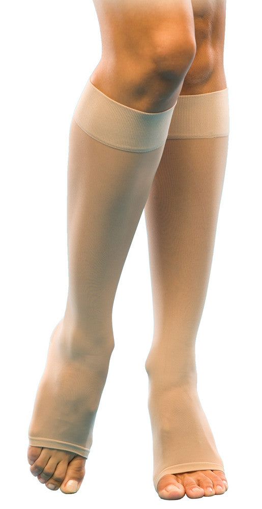 Sheer Fashion | Knee High Compression Stockings | Open Toe | 15-20 mmHg