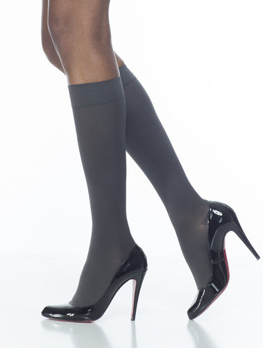Soft Opaque | Calf High Compression Stockings | Open Toe | 30-40 mmHg