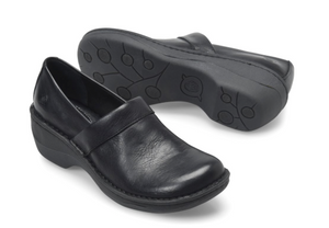 Born women's black leather clog
