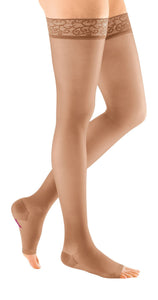 mediven sheer & soft, 30-40 mmHg, Thigh High w/ Lace Top-band, Open Toe
