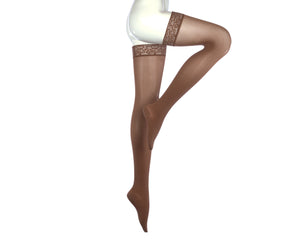Medi Comfort | Thigh High Compression Stockings with Lace Silicone Border | Closed Toe | 15-20 mmHg