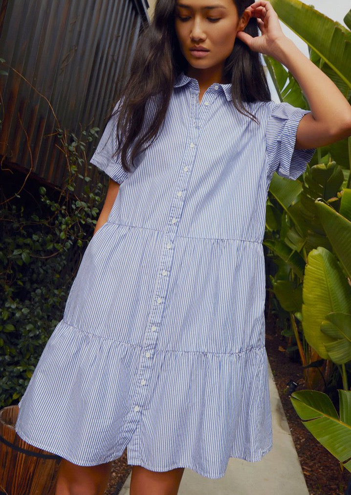 Hallie Tiered Shirtdress