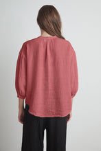 Load image into Gallery viewer, Ilena Linen Peasant Blouse in Citron and Cranapple